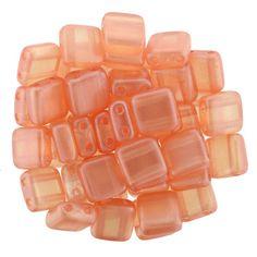 250-66-63875 CzechMates Tile Bead 6mm : Pearl Lights - Pomelo