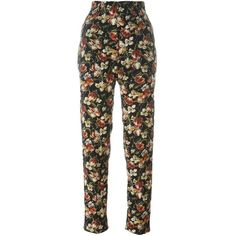 Jean Paul Gaultier Vintage 1991 floral print trousers ($189) ❤ liked on Polyvore featuring pants, multicolor, floral trousers, vintage high waisted pants, high-waist trousers, floral print pants and long trousers
