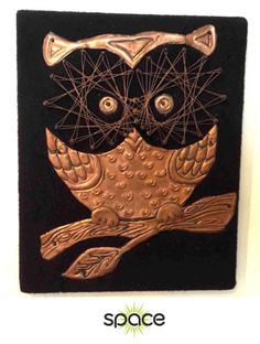 COOL-VINTAGE-COPPER-METAL-OWL-STRING-ART-WALL-PLAQUE-RETRO-MID-CENTURY-JERE
