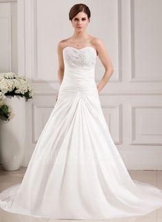 Wedding Dresses - $186.99 - A-Line/Princess Sweetheart Chapel Train Taffeta Wedding Dress With Ruffle Lace Beadwork (002000468) http://jjshouse.com/A-Line-Princess-Sweetheart-Chapel-Train-Taffeta-Wedding-Dress-With-Ruffle-Lace-Beadwork-002000468-g468