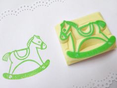 Wooden horse stamp Rocking horse Baby by JapaneseRubberStamps