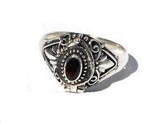 Sterling Silver Bali Genuine Garnet Gemstone Poison Ring oh I really like this one. $24