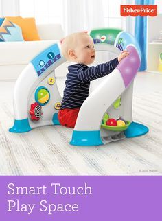 Give baby the ultimate explore-around toy for introducing numbers, ABCs and more, from infant to toddler. It's the Smart Touch Play Space! The interactive, touch-sensitive light bar features innovative Smart Touch Technology that responds to baby's touch with music, lights, colors and sung songs in three different modes. Ages 6-36 months. baby toys -