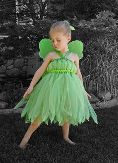 Tinkerbell Tutu Dress. You can usually get these exact fairy wings at the Dollar Tree and they come in different colors too, not just green!