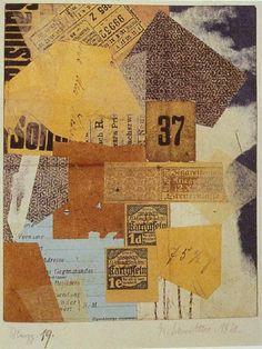 Kurt Schwitters paper collage, Merz, 1920