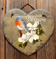Joyces Creative Country - Custom painted saws, slates and tinware Painted Slate, Painted Rocks, Hand Painted, Tole Painting, Painting On Wood, Slate Art, Spring Pictures, Rock Painting Designs, Pictures To Paint
