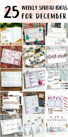 Minimalist Bullet Journal Weekly Spread Spreads Ideas - Bullet Journals Examples Bullet Journal Weekly Spread Layout, Bullet Journal Examples, Shooting Star Wish, Happy December, Bubble Letters, Draw On Photos, Holly Leaf, New Theme, Page Design
