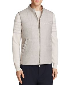 Eleventy Linen Wool Quilted Vest