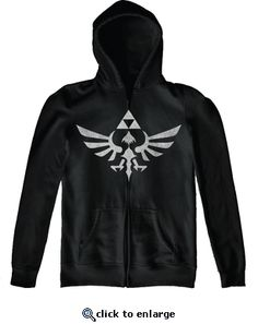 Nintendo Legend of Zelda Twilight Princess Triforce Black Adult Full Zip Hooded Sweatshirt- $44.99