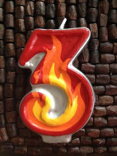 Flame candle inspired by a Fireman Birthday party by The Glitz Shop