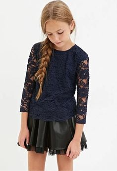 Girls Floral Lace Top (Kids) | Forever 21 girls #forever21kids