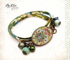 Bracelet liberty fleuri Cabochon • motif folklorique • fleur oiseau vert bleu rouge rose