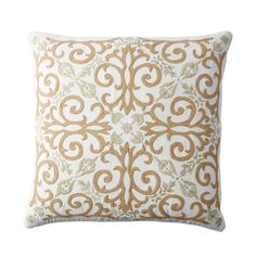 Gold Embroidered Pillow Cover-Medallion