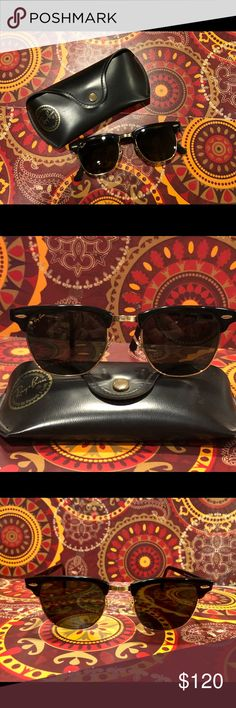 1993 Mint.! Vintage Ray-ban Clubmasters..Like New! Bausch & Lomb '93 Vintage Ray-ban Clubmasters with Original Case included. These sunglasses were only worn a few times back in the '90s.. then stored safely in smoke free environment.  MINT condition & Like new.! Black framework w/ Gold tone accent around  bottom of  lenses , connecting the feet, and center across bridge of nose. Gold tone Ray-ban signature on upper corner of right lens. Retailed at $159 in '93 at time of purchase. These…