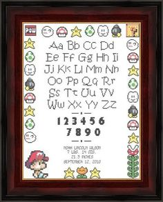 Mario Nintendo Cross Stitch Birth Record Pattern (PDF). $5.00, via Etsy.