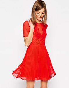 $77 ASOS+Lace+and+Pleat+Skater+Mini+Dress