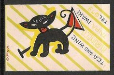 Old Matchbox Labels Japan Cat Vintage Cat, Vintage Labels, Vintage Postcards, Vintage Fireworks, Asian Cat, Matchbox Art, Japanese Artwork, Japanese Design, Vintage Artwork