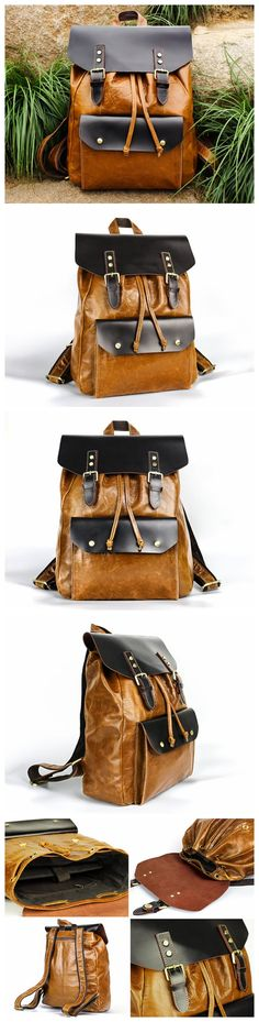 Vintage Leather Backpack Women Handmade Leather Bag Men, Leather Tote Bag…
