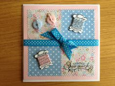 Patchwork card with sewn edging