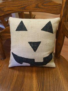 Halloween Pillow, Pumpkin Face Pillow, Burlap Pillow, Halloween Decoration, Fall Decor, Outdoor Pillow,Halloween Cushion, Halloween Decor
