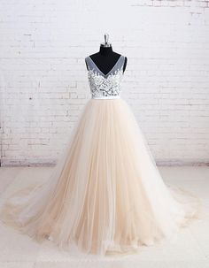 Elegant Lace Wedding Dress with V Back Colored Tulle Wedding