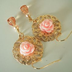 Peach Cabbage Rose Flower Earrings Peach Glass by Plumbeadacious, $14.00