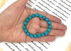 10mm Blue Turquoise Gemstones Strech Bracelet, Healing Chakra Protection Meditation Yoga Mala Scorpio Sagittarius Aquarius Pisces Bracelet by ArtGemStones on Etsy