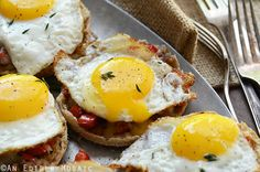 Cheesy English Muffins with Smoky Balsamic Red Pepper Compote and Fried Eggs Recipe