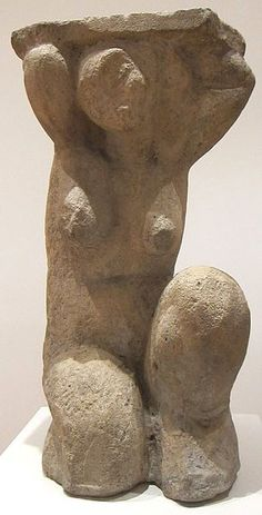 Caryatid by Amedeo Modigliani, c. 1914, limestone, Museum of Modern Art