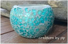 Turquoise Mosaic Soy Wax Candle Burns for 38 hours Available Cinnamon Spice, Cinnamon Vanilla, Frangipani  www.creations-by-pip.myshopify.com