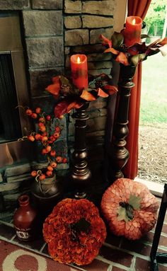 Porch, fall, pumpkins, candles