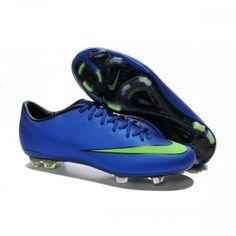 new product c35e6 2cfae Nouvelle Chaussure de Football Nike Mercurial Vapor X FG Bleu Vert