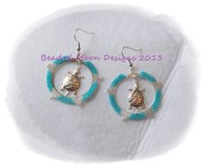 beaded hoops w/ turtle center earrings