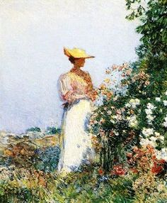 Frederick Childe Hassam (1859-1935). Lady in Flower Garden. ca 1891