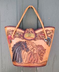 Vintage 1960s Hand Tooled Leather Western Purse by delilahsdeluxe 930c671b83402