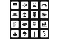 Vietnam icons set, simple style. Business Infographic