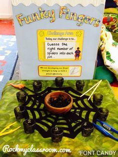 """Funky Fingers"" Fine Motor Activity: Tweezing Spiders (from Rock My Classroom) Rhyming Activities, Motor Skills Activities, Gross Motor Skills, Halloween Activities, Nursery Activities, Dyslexia Activities, Preschool Halloween, Preschool Age, Interactive Activities"