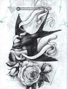 skull rose swallow tattoo sleeve - Google Search