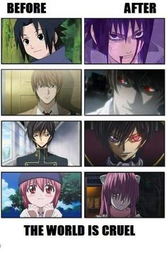 I get what happened to Sasuke, Light was just egotistical, Lelouch got to confident, but Lucy.....what happened to Lucy was just sad. Anime Meme, Manga Anime, Otaku Anime, Anime Naruto, I Love Anime, Awesome Anime, All Anime, Death Note, Sasuke