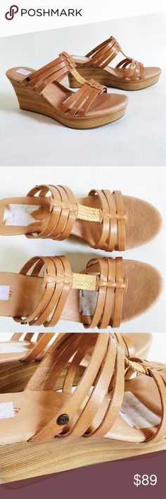 "Ugg Mattie Wedge Sandals Ugg Mattie Wedge Sandals in cognac featuring stacked wooden wedge.  Casual but cute!  NWOT, never worn!  Original box not included.  3.25"" heel offset by 1.5"" platform.  Size 8. UGG Shoes"
