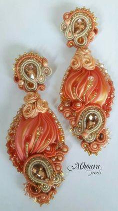 ' Shades of Orange ' shibori silk and soutache designed by Mhoara Jewels