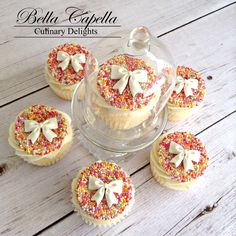 Cupcakes with 100's and 1000's sprinkles toppers by cake artist Jennifer Beckham at Bella Capella Culinary Delights in Queenslands Central Highlands. Contact: bellacapella@bigpond.com www.facebook.com/BellaCapellaCulinaryDelights
