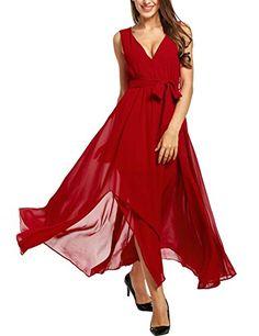 Beyove Women's Casual Loose Long Dress Short Sleeve Split Maxi Dress Plus Size (Burgandy/XXL) Bridesmaid Dresses Plus Size, Plus Size Maxi Dresses, Cheap Dresses, Prom Dresses, Summer Dresses, Chiffon Dress Long, Maxi Wrap Dress, Formal Dresses For Women, Casual Dresses