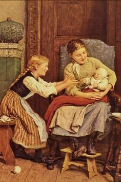 "Swiss Albert Anker - ""First Smile"""