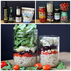 A healthy, make-ahead, grab-and-go salad that's a complete meal in a jar. For 3 additional international quinoa salad-in-a-jar varieties, see original post at www. Mason Jar Meals, Meals In A Jar, Jar Recipes, Healthy Recipes, Healthy Snacks, Quinoa Pilaf, Making Quinoa, Cooking Oatmeal
