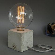 concrete lamp table Lamp Bedside lamp CUBO van UNiiKATshop op Etsy