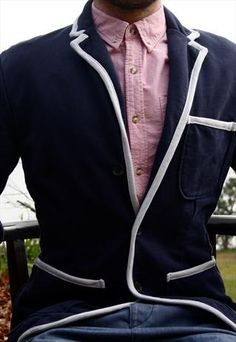 Navy Blazer with White Pipping