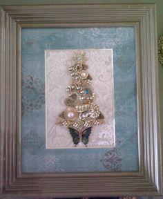 Antique jewelry Christmas Tree. $50.00, via Etsy.