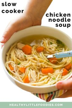 This is the BEST Slow Cooker Chicken Noodle Soup! No pre-cooking required, just dump and cook. Perfect for busy parents. LOVED by kids! The perfect remedy when under the weather this comforting soup is made with carrots, celery, onion, chicken breast, and herbs. Slow Cooker Recipes, Crockpot Recipes, Cooking Recipes, Soup Recipes, Turkey Recipes, Recipies, Dinner Recipes, Healthy Soup, Healthy Cooking