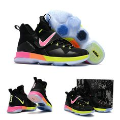 "February 17,2017 Shoes Nike Womens LeBron 14 ""Black Rainbow"" Black Pink Orange Volt"